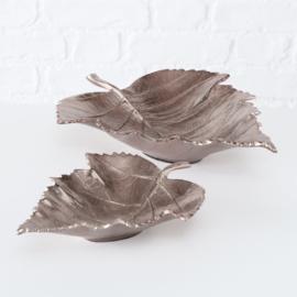 Decoschaal -  2 set - Blad - Goud/Bruin - 35cm en 25cm - Aluminium