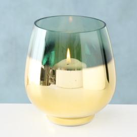 Windlicht - Goud - Groen - Ø 13cm - Glas - 15cm