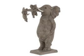Olifant - Polyserin - Grijs - 33cm - Beeld - Decoratie - met kids