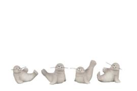 Zeehonden - 4 set - aardewerk - Grijs - 9x7x7cm