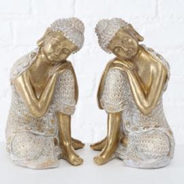 Buddha - Boedha - 2 set -  goud - polyserine - 24cm - Geluk