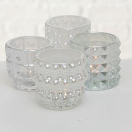 Windlichten - 4 set - Glas - 9 cm  - Ø 10 cm - Parelmoer