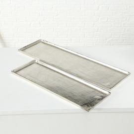 Schaal - 2 set - plat - Zilver - 74x25cm - 94x28cm - Aluminium