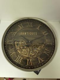 Radar wandklok Antiques brons kleur met glasplaat
