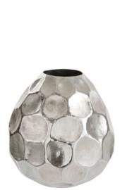 Vaas - Aluminium - Gehamerd - Zilver - 35x35x42cm