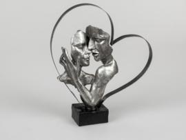 Vrouw - Man - Beeld - Zilver - op voet - 32cm - Liefde