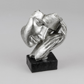 Vrouw - Beeld - Zilver - op voet - 22cm - rust