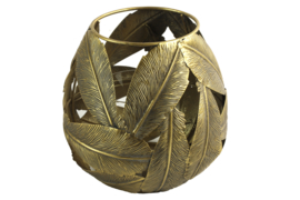 Windlicht - incl. glas - Goud - Handmade - Blad - L18xB18xH17cm