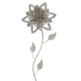 Wand - decoratie - Bloem - Zilver - Muurdecoratie - 68cm - Metaal - steentjes