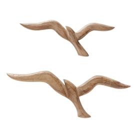 Wand - 2 set - Mango Hout - Decoratie - Vogels - Bruin - 35 cm