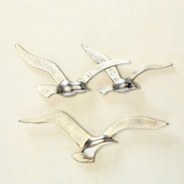 Wand - Decoratie - Vogels - Zilver - 35 cm