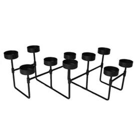 Waxinelichthouder - 3D - Harmonica - Theelichthouder - 10 waxinelichtjes - decoratie - zwart - 58 cm