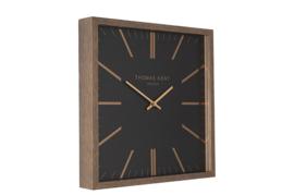Klok - Wandklok - Vierkant - Bruin - Zwart - 60cm - Thomas Kent