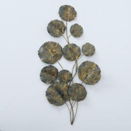 Wand deco - 115cm - Goud/groen kleur - Metaal - Bloem