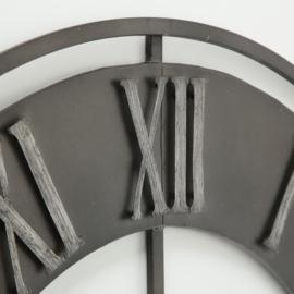 Klok - Duron - Ø 78cm - Metaal - industrieel - Grijs