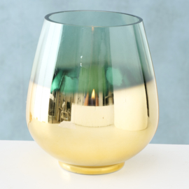 Windlicht - Goud - Groen - Ø 19cm - Glas - 20cm