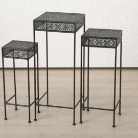 Bijzet tafel - 3 set - Smeedijzer - vierkant - 55-65-75cm - Bruin/zwart
