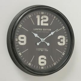 Wandklok - klok - Vintage - Ø 50 cm - Zwart - Glas