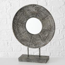 Spiegel - Ø 40cm - Hoog 52 cm. - Metaal - zilver grijs