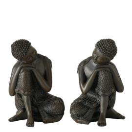 Buddha - Boedha - 2 set -  Bruin - polyserine - 18cm - Geluk