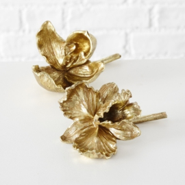 Decoratie bloemen - 2 set -  Polyserin - Orchidee  - Ø 10cm - 20cm - Goud