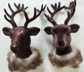 Hert - Beeld- 2 set - Winter - Plastic - 19cm - Bruin - Pluche