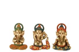 Ganesha - Buddha - 3 set - Goud - 17x10x22cm