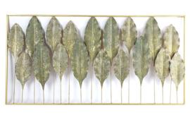 Wanddecoratie - Muur decoratie - 120x 60 x 5cm - Blad- Goud - Metaal