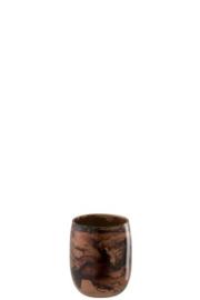 Windlicht - Bruin tint - Ø 11cm - Glas - 13cm