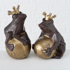 Kikker - 2 set - Metaal - Bruin -  Goud - 17 cm - Beeld - Decoratie