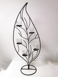 Windlicht - Waxinelichtjeshouder - Metaal - Blad -  Bruin - Glas.