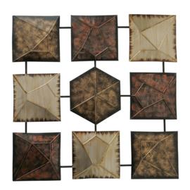 Wanddecoratie - Muur decoratie - 74 x 74cm - Metaal - Goud - bruin - zilver