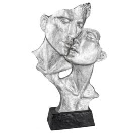 Man - Vrouw - Beeld - Zilver - op voet - 40cm - Liefde