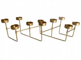 Waxinelichthouder  - 3D harmonica - Theelichthouder - 10 waxinelichtjes - decoratie - Goud - 58 cm