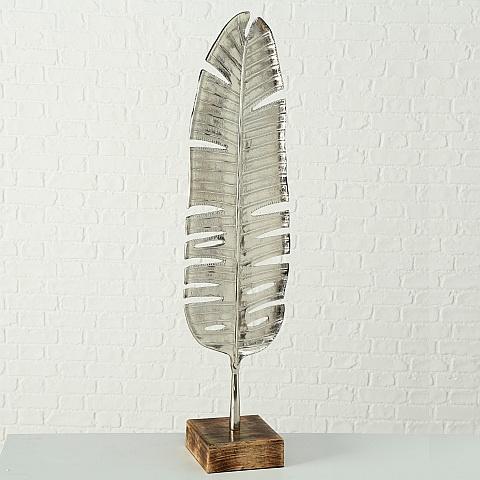 Blad - Aluminium - Zilver - op Mango voet - 113cm