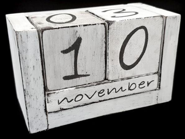 Blok kalender - Hout - Nederlandse Tekst - 10x16cm - Antique wit - Eeuwigdurende kalender