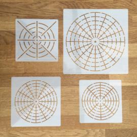 Mandala sjablonen set 1 - 4 stuks