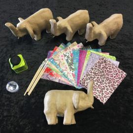 Knutselpakket Decopatch - Originele Olifanten - 4 / 6 / 10 personen