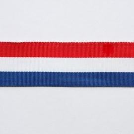 Lint - gestreept - rood/wit/blauw - 25 mm - 1 meter