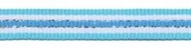 Lint - gestreept - blauw&zilver - 10 mm - 1 meter