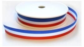 Lint - gestreept - rood/wit/blauw - 15 mm - 1 meter