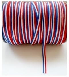 Lint - gestreept - rood/wit/blauw - 7 mm - 1 meter
