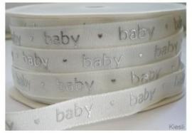 Lint - Baby - wit&zilver - 12 mm - 1 meter