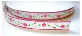 Lint - Bloemen - wit&roze - 16 mm - 1 meter