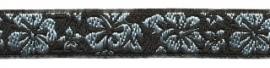 Lint - Bloemen - zwart&zilver - 12 mm - 1 meter