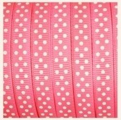 Lint - gestipt - roze - 10 mm - 1 meter