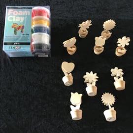 Megaknutselpakket Foam Clay - Bloempotjes Pimpen - 12 / 24 / 36 personen