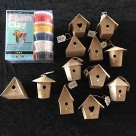 Megaknutselpakket Foam Clay - Veel Vogelhuisjes - 12 / 24 personen