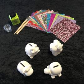 Knutselpakket Decopatch - Stoere Spaarpotten - 4 / 6 / 10 personen