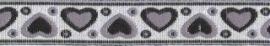 Lint - Hartjes - zwart&zilver - 12 mm - 1 meter